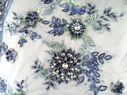 Embroidered 3D 1//3 yard Fabric Navy Blue Sequin Rhinestone Floral Design DH78