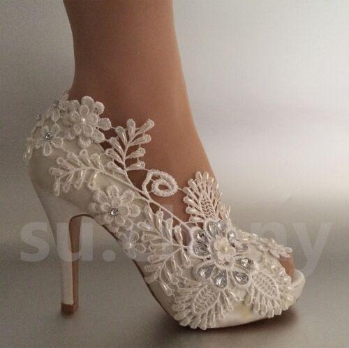 "su.cheny 3/"" 4/"" heel satin white ivory lace pearls open toe Wedding bridal shoes"
