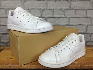 ADIDAS UK 4 EU 36 2 3 WHITE STAN SMITH TRAINERS PERFORATED STRIPES ... c83d37d4215
