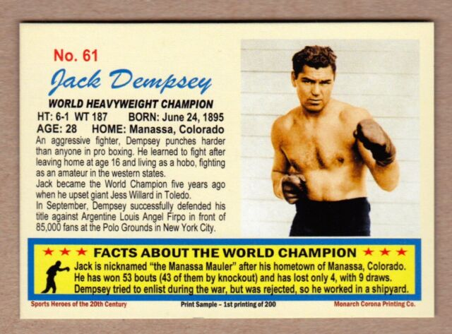 Jack Dempsey World Heavyweight Boxing Champ, 20th Century series #61
