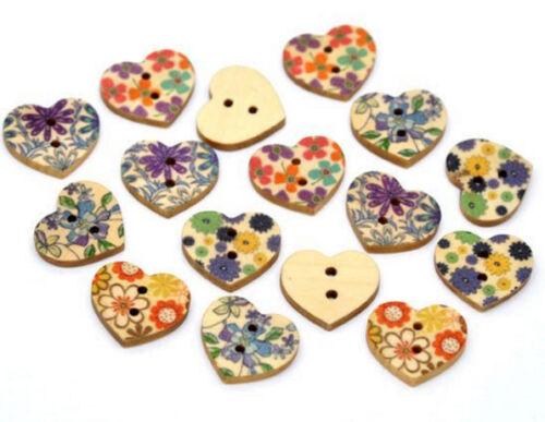 "20 FLORAL HEART 2-hole Wood Buttons 11//16/"" x 5//8/"" 1463 Scrapbook Craft 18mm"