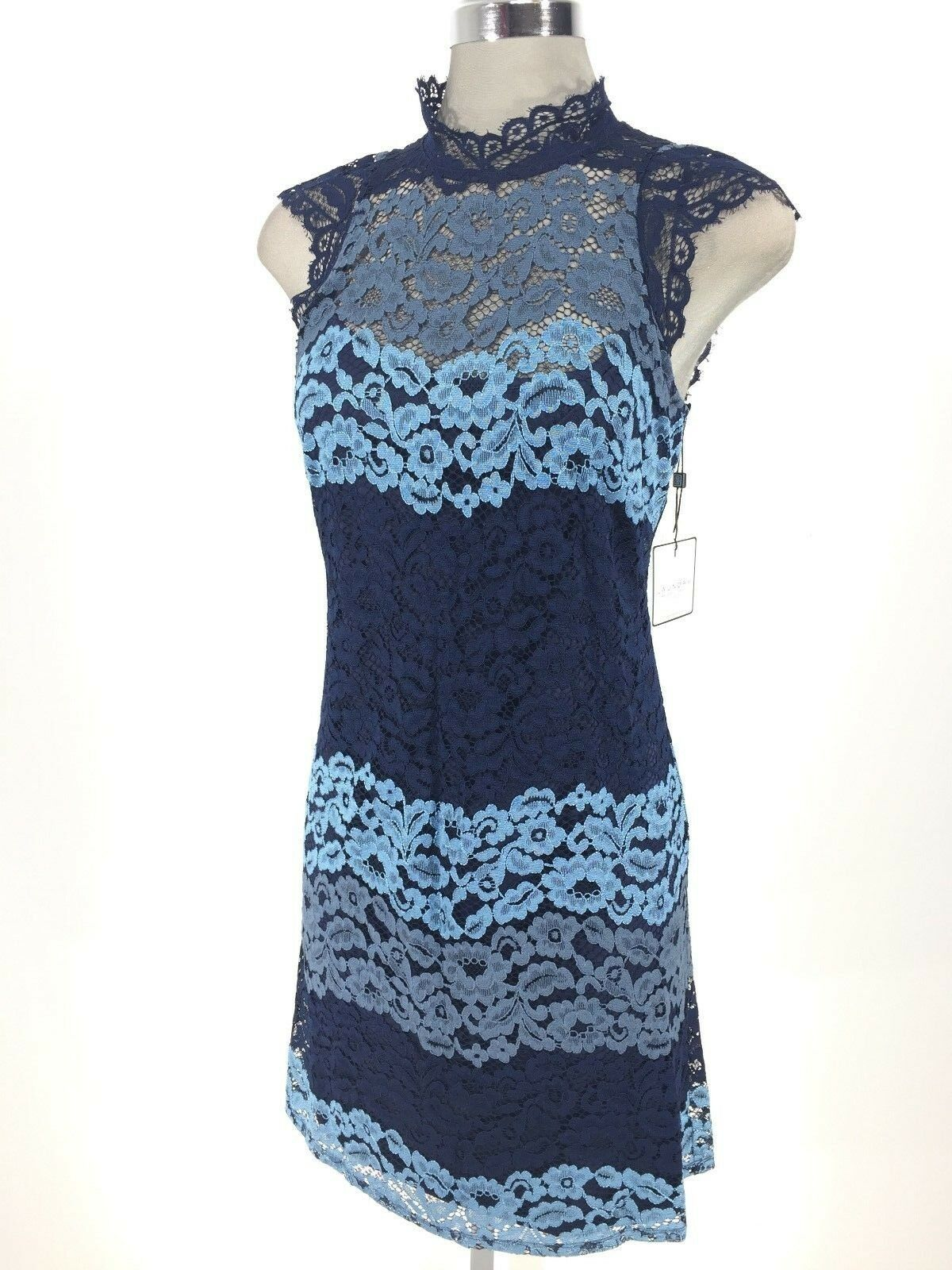 LAUNDRY Brand New NWT Exquisite Denim bluee Beautiful Lace Dress size 0 4 6 8