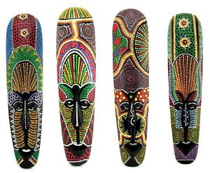 African-Wood-Mask-Hand-Carved-Painted-Ceremonial-Tribal-Tiki-Aboriginal-Dot