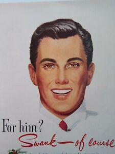 Swank Jewelry Print Ad Original Vtg 1950 Cufflink Christmas Gillette Razor Santa