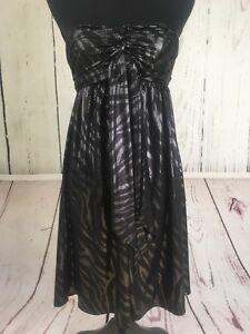 Express-Women-039-s-Dress-Sz-XS-Small-Black-Silver-Shiny-Strapless-Dress