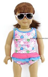 Ruffle-Heart-Print-1-Piece-Swim-Suit-18-in-Doll-Clothes-Fits-American-Girl