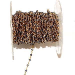 3Feet GREEN ONYX 2MM Bead Link Chain 24K Gold Plated Rosary DIY Gemstone Crystal