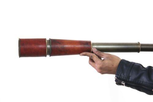 "Maritime Leather Craved Draw Spyglass Round Antique Handheld 35/"" Brass Telescope"