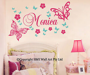 Butterfly-Flowers-Custom-Personalised-Name-Wall-Stickers-Kid-Girls-Nursery-Decor