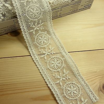 2yds Vintage Style Embroidered Tulle Mesh Lace Trim Double Edged Fabric Flower