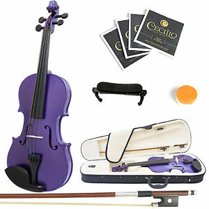 Mendini-Size-1-4-MV-Purple-Solidwood-Violin-ShoulderRest-Extra-Bridge-Case