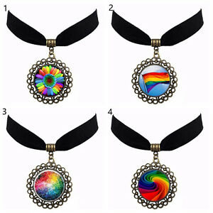 Rainbow flag lgbt pride velvet choker time gem pendant necklace image is loading rainbow flag lgbt pride velvet choker time gem aloadofball Image collections
