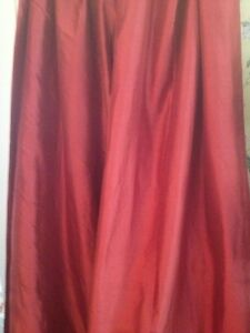 "Pair Red Maroon Burgundy Silk Lined Drapery Curtain Panels Rod Pocket 107"" Long!"