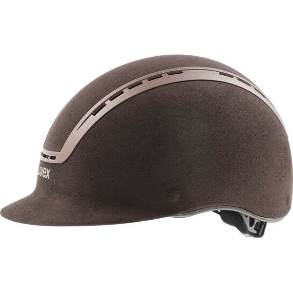 Uvex Reithelm suxxeed velours brown Dressur Brillenträger geeignet brown Matt