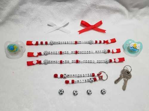 Manchester United Inspiré Dummy Clip Porte-clés cadeau cadeau, Set bébé