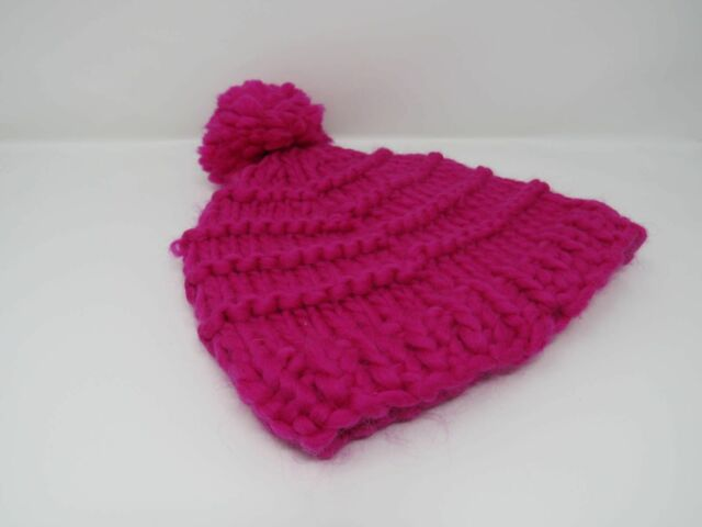 1c87880a Handcrafted Knitted Hat Beanie Hot Pink Pom Pom 100% Merino Wool Female  Adult