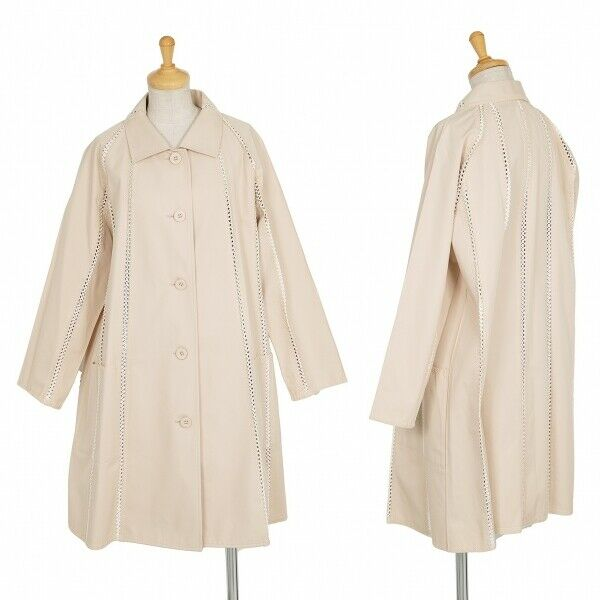 ISSEY MIYAKE Lace Switching Stand Fall Collar Coat Size 2(K-69500)