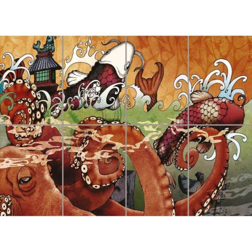 Japanese Koi Carp Tattoo Giant Wall Mural Art Poster Print 47x33 Inches
