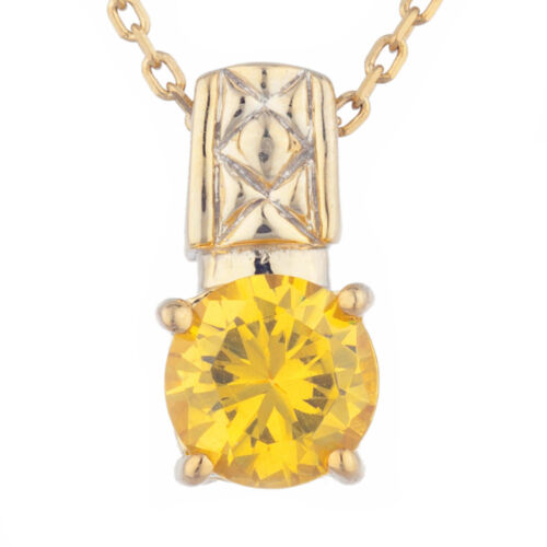 14Kt Yellow Gold Plated Yellow Citrine Round Design Pendant