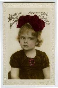 1920s Child Children LITTLE GIRL Big Bow British photo postcard