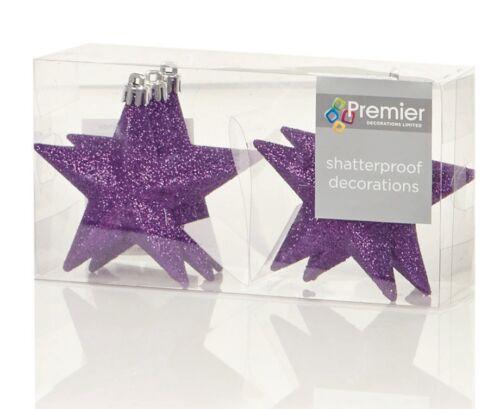 Christmas Tree Decorations Xmas Tree Baubles Glitter Gloss /& Matt 6 x 100mm Star