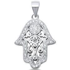 Hand of Hamsa Evil Eye Charm .925 Sterling Silver Pendant