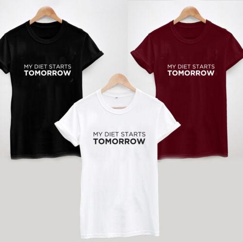 Mon régime commence demain T-Shirt-Drôle d/'entraînement Fitness Femmes Unisexe