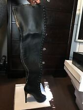 ZigiNY Zigi Girl Sz 10 Piarry Thigh High Over the Knee Leather Boots Blk Lace Up