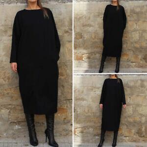 Damenmode-Langarm-Lose-Sweatshirt-Kleid-Maxikleid-Herbst-Winter-Pullover-Kleider