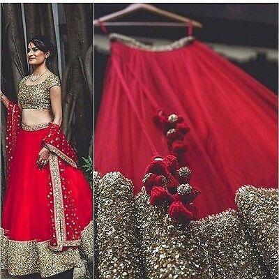 Lehenga Indian Wedding Designer Latest Bollywood Red Lengha Blouse Dress Saree Ebay