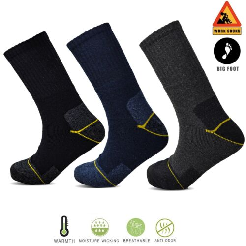 Socksology® 3 x Mens Work Socks Large Big Foot Thermal Chunky Hard Wearing 11-14