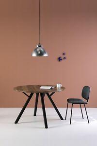 Esstisch rund schwarz  Details zu XXL Esstisch Rund 120cm Schwarz mit Eiche Dunkel Tischplatte  Küchentisch