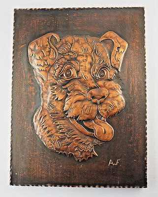 """Collection Here Charming Kupferbild """" The Terrier Fits On """" Marked,27x36 Cm. ra18"""