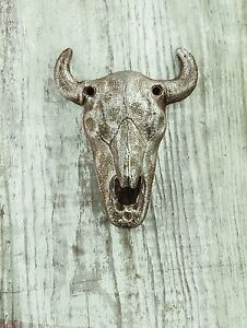 Cast-Iron-WESTERN-BULL-SKULL-Wall-Mounted-Bottle-Opener-4-5-034-Tall-by-Manual