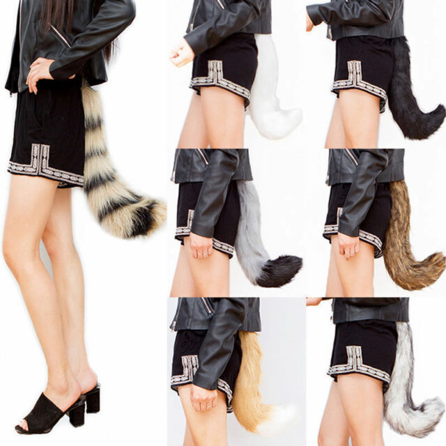 Halloween Faux Fur fox/'s Tail Unisex Cosplay Furry Wolf Dog Adjustable Costume