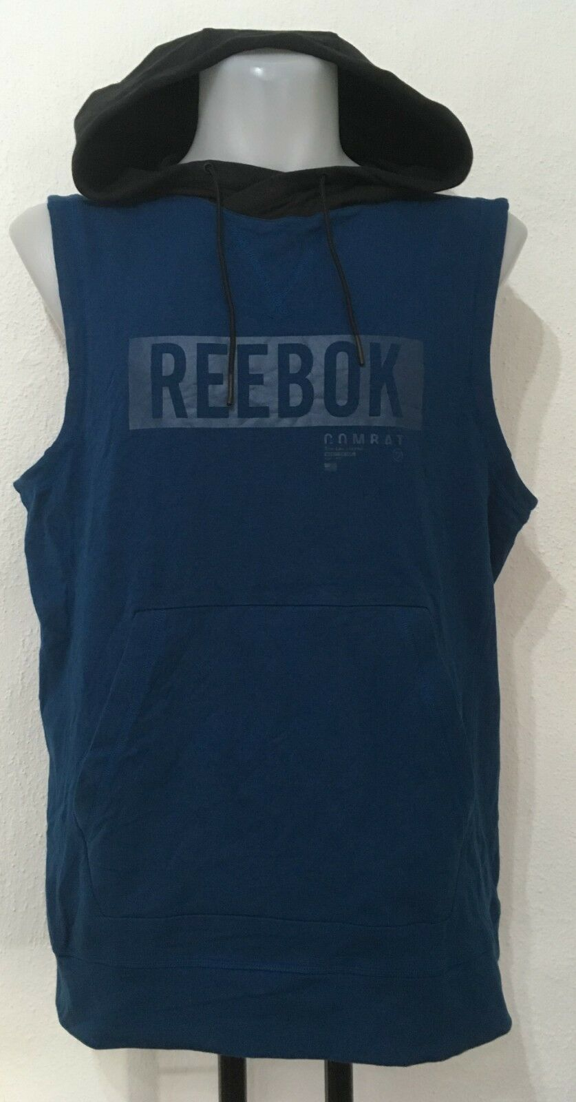 TURQUOISE COMBAT TRAIN LIKE A FIGHTER SLEEVELESS HOODIE BY REEBOK  MEN'S XXL