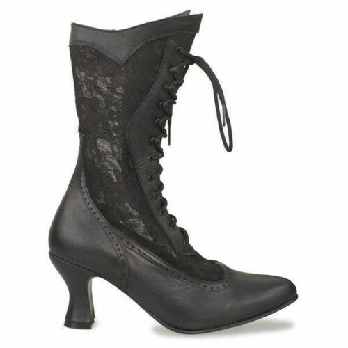 6.5,7,9.5 Black Leather and Lace Vesper Oak Tree Western Victorian Boots size 6