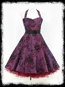 dress190-DARK-PURPLE-50s-HALTER-FLOCK-TATTOO-ROCKABILLY-PARTY-PROM-DRESS-UK-8-26