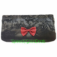 Banned Elegant Red Bow Gothic Steampunk Wallet Purse Flocked Skull Ivy Black