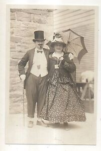 RPPC-Couple-Dressed-Up-in-1800s-Costumes-Top-Hat-amp-Cane-Real-Photo-Postcard