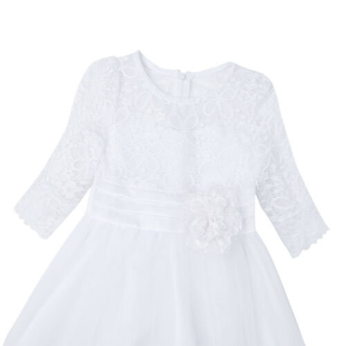 Vestido de Encaje Floreado de Fiesta Bautizo Ceremonia Honor Princesa para Niña