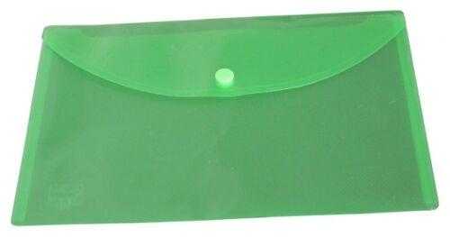 100x Dokumententaschen Umschläge Druckknopf A5 quer grün transparent