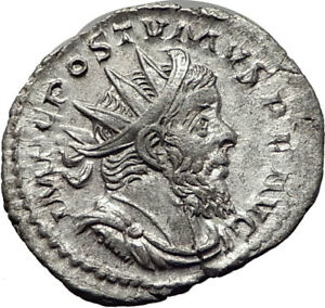 POSTUMUS-266AD-Silver-Genuine-Authentic-Ancient-Roman-Coin-Juno-Moneta-i65354