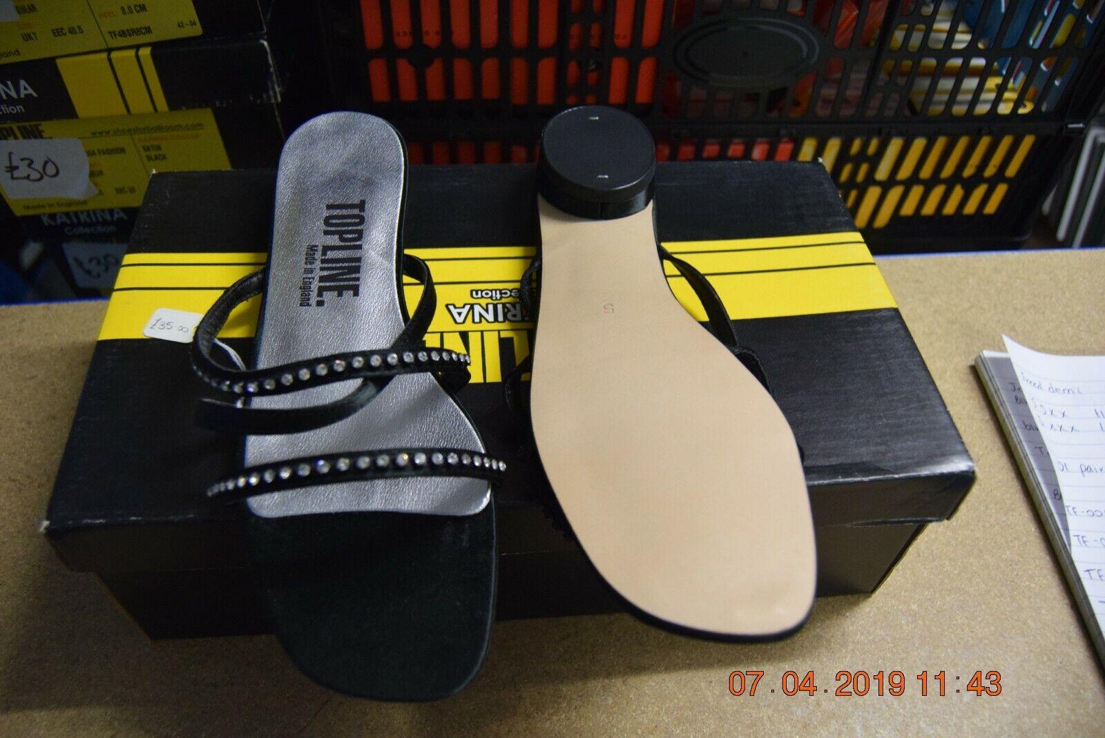 Black satin Topline TF002 Fashion / dance shoes - size UK 5