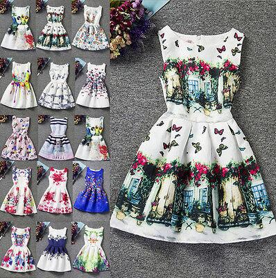 UK Parent-Child Womens Kids Girls Sleeveless Print Belted Skater Party Dress