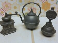 Vintage Miniature PEWTER TEA KETTLE COFFEE GRINDER LAMP Dollhouse Collectible