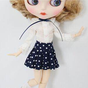 "Blythe Doll Blythe/'s Lovely T-Shirt Blue Dots Short Skirt Socks Suit 3pcs 12/"""