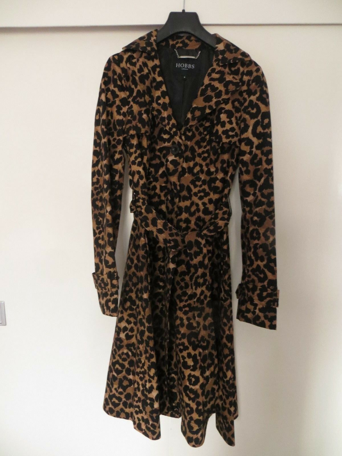 BN Hobbs Leopard Animal Print Cotton Single Breasted Mac+belt Storm Flaps Sz 8