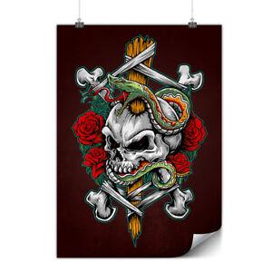 Biker Skull Family Matte//Glossy PosterWellcoda