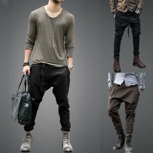 Men's Sports Casual Jogger Harem Pants Low Drop Crotch Hip Hop Baggy Trousers